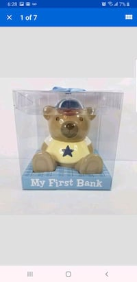 Stepping Stones Ceramic Coin Bank- All Star Bear