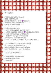 "PMG HALLOWEEN * brand ""RED HOT MAMA!"" Cute devil costume women's size SMALL - NEW! Carrollton, 75007"