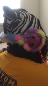 Zebra winter hat for girls + rainbow fur happy face ear muffs