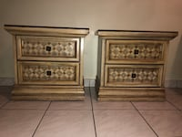Small Wooden Glass Table Top Nightstand Set w/ 2 Drawers in Excellent Condition! Miami, 33175