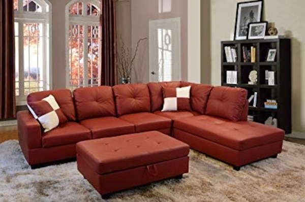 Used red leather sectional sofa with ottoman for sale in Austin - letgo