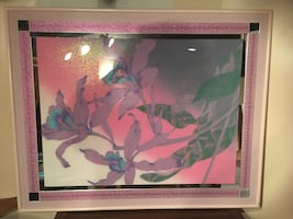 Pink Framed Floral/Mirrored Wall picture