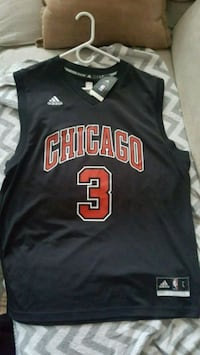 black and red Chicago Bulls #3 jersey