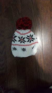 knit white, red, and black floral bobble hat Courtland, N0J 1E0