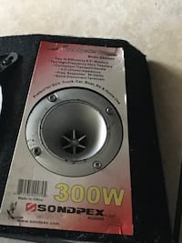 black and gray Pioneer subwoofer