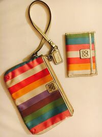 Two multicolored stripe coach wristlet and wallet Sebring, 33875