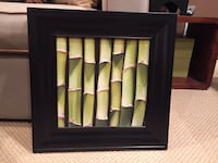 Green bamboo print in black frame
