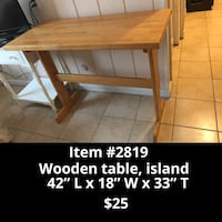 Wooden table, island