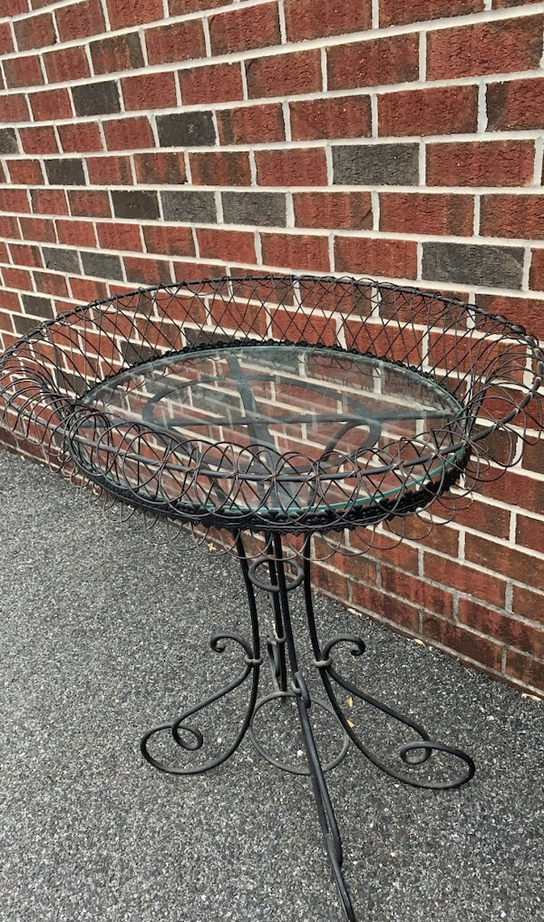Used Unique Rod Iron And Glass Pedestal Table For Sale In