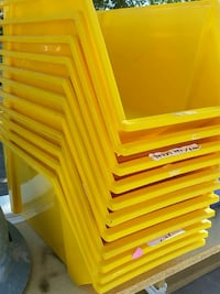 yellow and red plastic tool chest