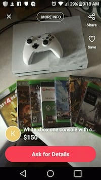Xbox One console with controller and game cases screenshot Rockford, 61108