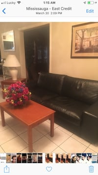 Black leather sofa in good condition  Mississauga, L5N 4P2