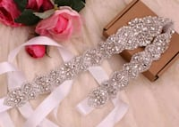 NEW Bridal belt: Silver Crystal Flower w/beads