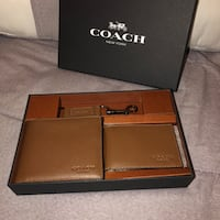 Coach dark saddle leather wallet gift set 5 mi