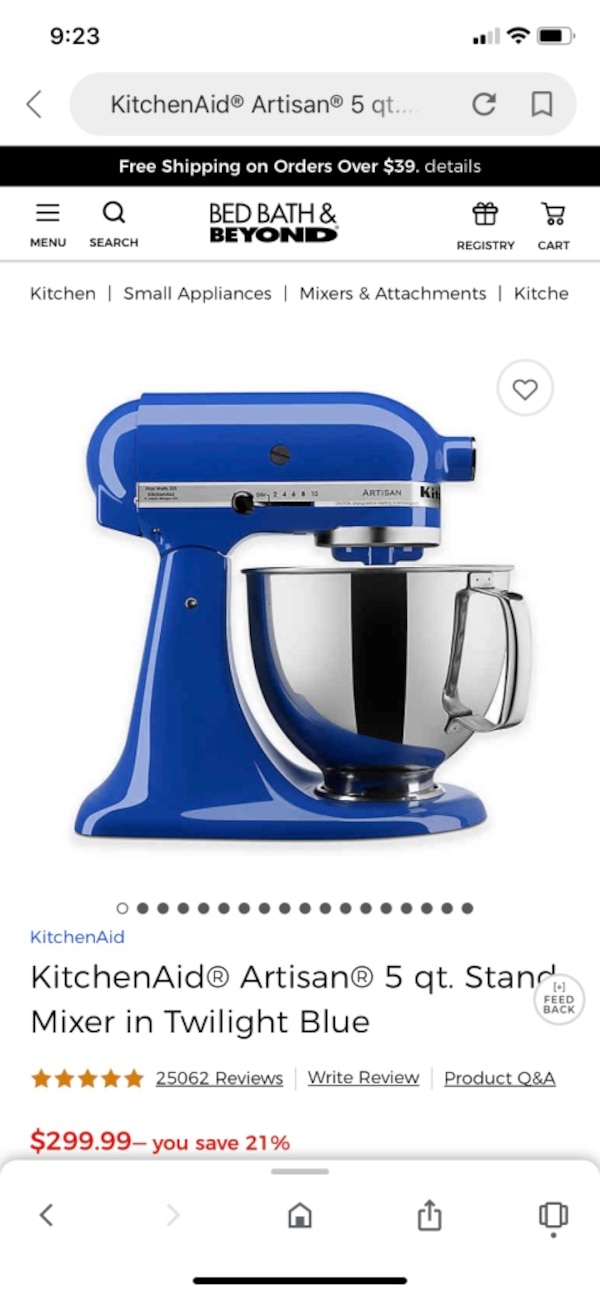 Blue Kitchen Aid Mixer used twice!