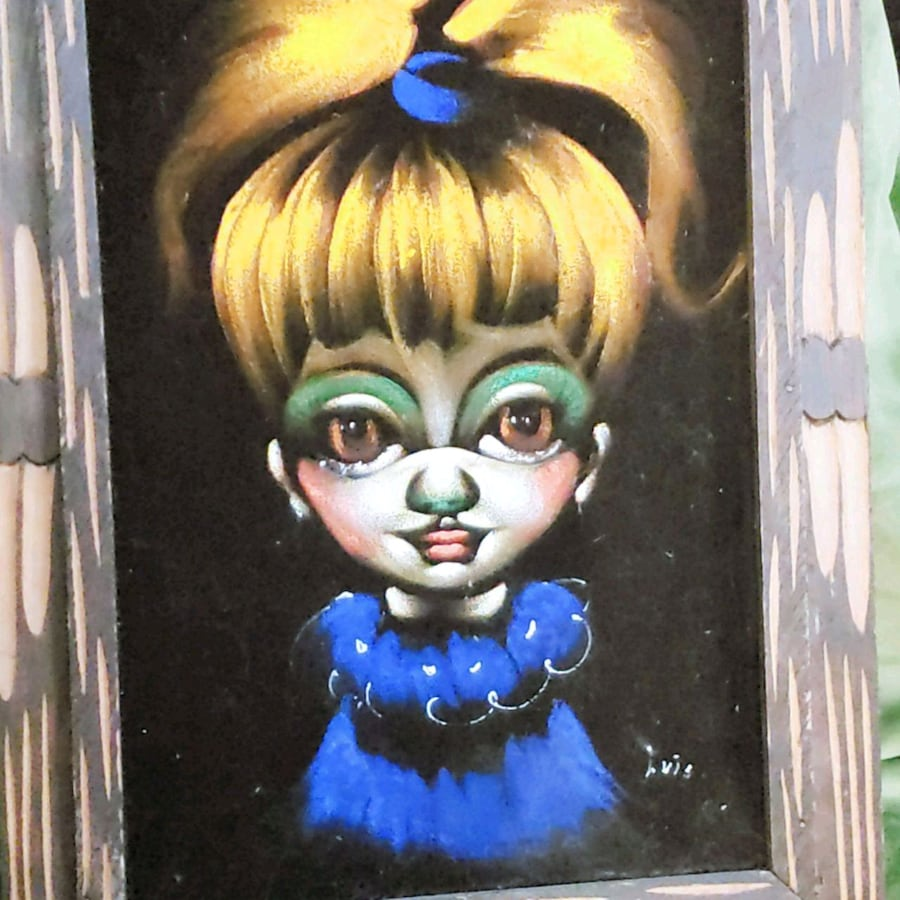 Not creepy at all Vintage Velvet Painting