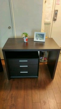 Desk with cabinet, black- Brown