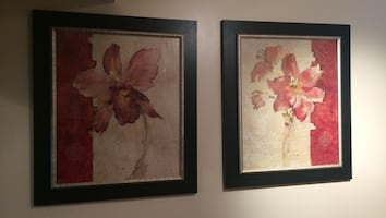 Two pink orchid flowers paintings
