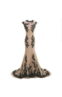 Sunvary Designer Champagne and Black Mermaid gown Stafford, 22556