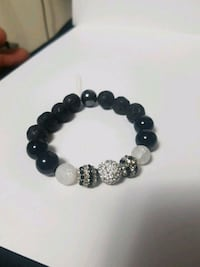 black and gray beaded bracelet
