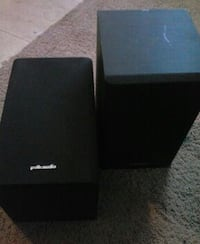pair of black Polk Audio speakers
