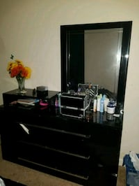 black wooden dresser with mirror 6 km