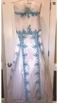 women's white and blue tulle embellished semi-sweetheart neckline pageant prom Eastover, 28312