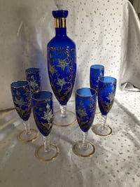 Blue and gold floral glass bottle set Vaughan, L4L 8S8