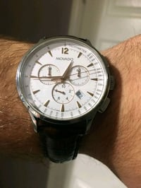 round silver-colored chronograph watch with black  Highland Park, 48203