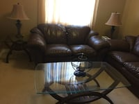 Brown glass coffee table and two end tables Richmond Hill