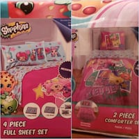 Shopkins 4 piece full size sheets. Brand new
