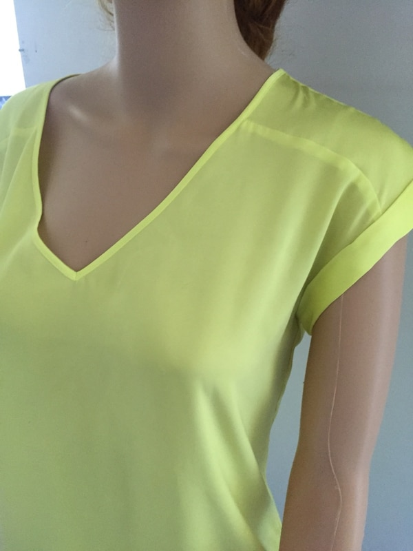 women's yellow sheer v-neck shirt