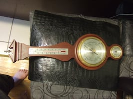 vintage Weather Station ,wood thermometer, Barometer, Humidity