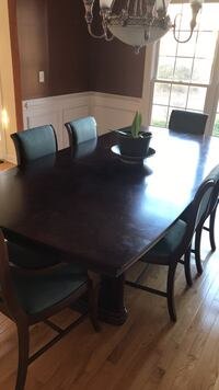 Rectangular brown wooden table with six chairs dining set Raleigh, 27614