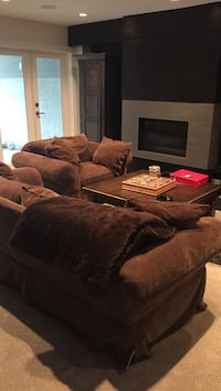 brown suede sectional sofa with throw pillows North Vancouver
