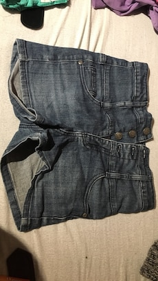 Grå høytlivs denim shorts