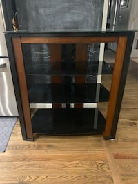 brown wooden frame glass top TV stand Bristow, 20136