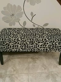 Modern Leopard black and beige fabric bench Hamilton