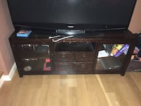 Pottery Barn wooden tv stand with cabinets and draws