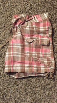 Pink, white, and brown plaid shorts