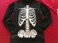 Black and gray sweater with skeleton print