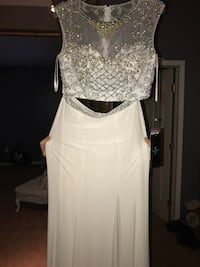 Women's white crop top and white side slit skirt