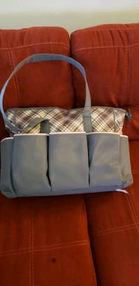 white and gray plaid print tote bag Prince George's County
