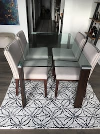 Glass/wood dining table and chairs WALDORF
