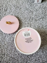 Ceramic canister in blush with gold heart handle