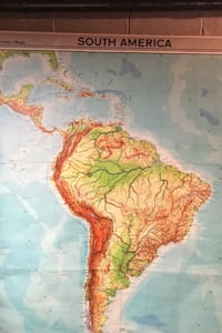 Vintage classroom map of South America - like the ones in classrooms! Dunellen, 08812