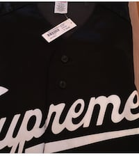 Supreme satin jersey black size small 100% authentic negotiable  Vancouver, V6J 2S1