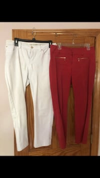 Women's two pants Red and White size 8/10 $6 each