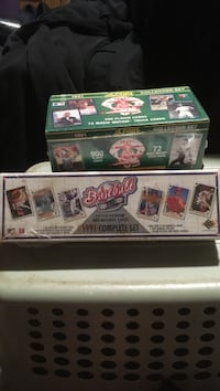 two baseball player trading card boxes
