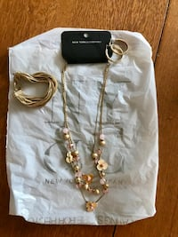 Gold-colored floral chain necklace, bracelet & earrings